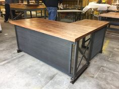 The industrial L shape Carruca Office Desk Large by IronAgeOffice