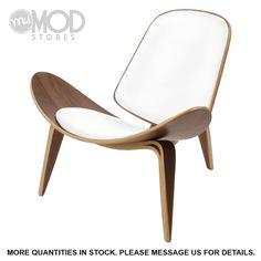Mid Century Danish Chair Modern Accent Plywood Chair Walnut Frame White Leather