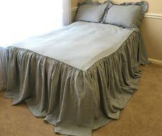New to CustomLinensHandmade on Etsy: Duck Egg Blue Bedspread ruffle bedding linen bedding shabby chic bedding  bed cover queen bedspread king bedspread blue bedding (249.00 USD)