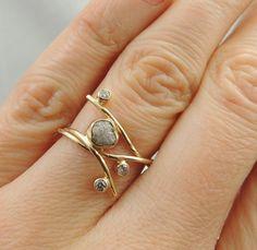 Uncut Diamond 14k Gold Ring Handmade by PointNoPointStudio, $1100.00