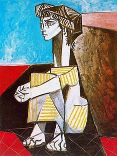 """Portrait of Jacqueline Roque with her hands crossed"".Artist: Pablo Picasso Completion Date: 1954 Style: Cubism Period: Later Years Genre: portrait Technique: oil Material: canvas Gallery: Musée Picasso, Paris, France. Kunst Picasso, Art Picasso, Picasso Paintings, Oil Paintings, Georges Braque, Cubist Movement, Art Criticism, Spanish Art, Oil Painting Reproductions"