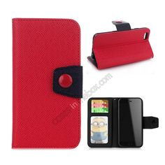 Hit Contrast Color Leather Stand Case for iPhone 6 Plus 5.5 Inch with Credit Card Slots - Red Black US$9.99