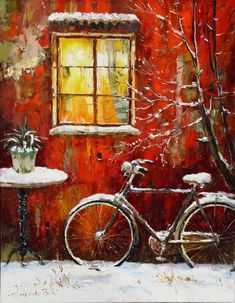 Gleb Goloubetski, 1975 - A Cityscape Impressionist painter - Fine Art and You Oil Painting On Canvas, Painting & Drawing, Art Expo, Pintura Exterior, Bicycle Art, Christmas Paintings, Russian Art, Pictures To Paint, Beautiful Paintings