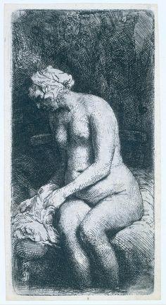 Rembrandt van Rijn, Woman Bathing her Feet, 1658. Ink on paper/etching, 16 x 8cm. Rijksmuseum, Amsterdam.