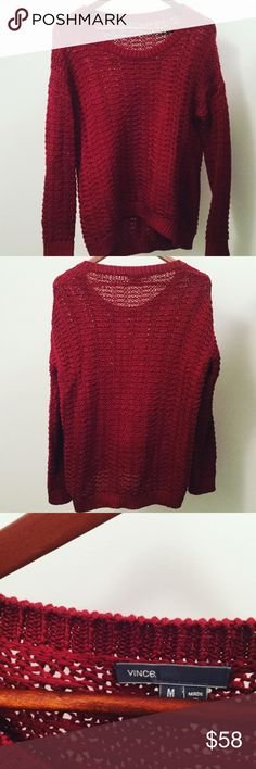 Vince Sweater like NEW!!! Gorgeous Burgundy Vince Sweater like brand new!! Only wore once in perfect condition!! Loose fitting and on the longer end for a sweater 😊Original price $320 this is a steal for the most comfy sweater you'll own!! Vince Sweaters Crew & Scoop Necks