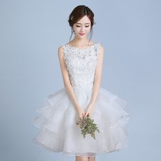 Find More Information about Short Wedding Dresses Knee Length White Ball Gown Appliques With Ruffles Vestido De Noiva Curto 2017 Noiva Da Princesa,High Quality applique badge,China applique fabric Suppliers, Cheap gown women from Princessally Dresses Store on Aliexpress.com