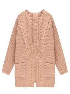 To find out about the Apricot Long Sleeve Pockets Cable Knit Cardigan at SHEIN, part of our latest Sweaters ready to shop online today!Knitting Patterns Cardigan Pink Loose Knit Cardigan With Long Sleeve Knit Cardigan Pattern, Cable Knit Cardigan, Cable Knit Sweaters, Knitwear Fashion, Knit Fashion, Fashion Women, Long Sweater Coat, Cardigan Outfits, Pink Cardigan
