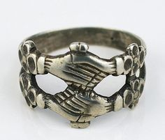 Medieval Antique Solid Silver Fede Ring Middle ages 17th Century Unusual