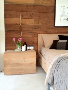 Wooden wall, bed, and table