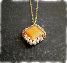 SALE 30 OFF  Gold crochet necklace  Orange by Lilyja on Etsy,