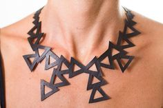 Triangles  Recycled Truck Inner Tube Necklace by MorganaCrea, €35.00