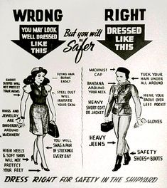 how to dress for work in the shipyards, WWII fashion