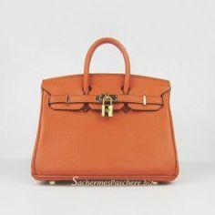 Sacs Hermès Pas Cher Birkin 25cm Tote Sac Orange Cuir Golden 6068 €191.00