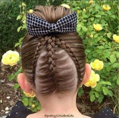 instead of one upside down braid into a bun, why not have the one in the middle is a French braid & those on the sides are 2 Dutch lace braids :) Baby Girl Hairstyles, Fancy Hairstyles, Headband Hairstyles, Braided Hairstyles, Kids Hairstyle, Hairdos, Jasmine Hair, Upside Down Braid, Business Hairstyles