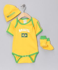 Another great find on #zulily! Gold  Green 'Brazil' Flag Bodysuit Set - Infant #zulilyfinds
