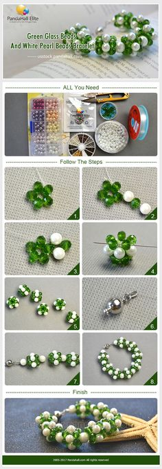 Pandahall Elite DIY green glass beads and white pearl beads bracelet