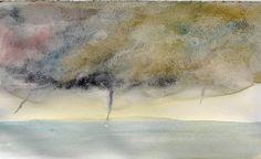 Seascape, watercolor on paper