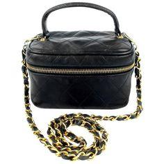 Chanel Vanity Shoulder Bag w/ Chain Rare Vintage Quilted Leather Black CC Gold 1