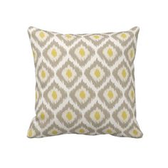 Beige And Yellow Diamond Ikat Pattern Pillow - Also available in pink, turquoise, yellow, red, blue and green color schemes.