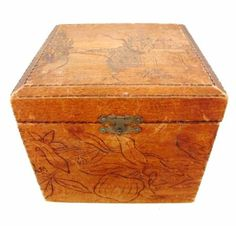 Antique Wooden Hinged Box