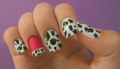cow nails with pink