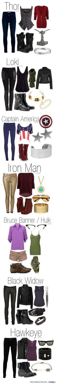 Thor-sweater,boots     Loki-all clothes     Bruce Banner/Hulk- purple shirt     Black Widow- shirt     Hawkeye- all, especially boots