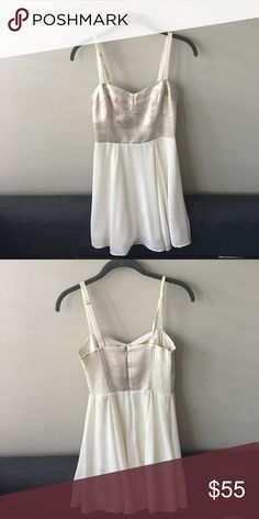 Express Silver and White Formal Dress Perfect Dress for New Years Eve and Holiday Parties! Could also be worn for a Rehearsal Dinner! Worn Once. Express Dresses Mini