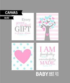 Baby meisje kwekerij canvas kunst Set van 4 8 x door babyartprints