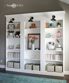diy shelves, billy bookcase hack, Ikea hack, custom shelving, library wall