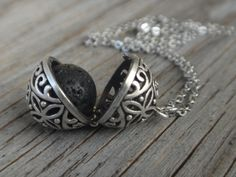 Diffuser Necklace. Filigree Magic Locket. Lava by PositiveMindSo