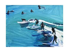 Surfers at Sunset by Annie Seaton for Minted