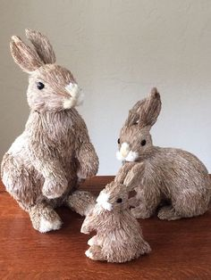 3 Pottery Barn Sisal Cottontail Bunny Rabbit Figures Easter 2015 Natural Straw