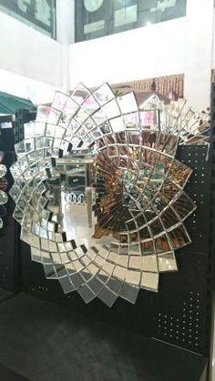 Peacock Mirror, Peacock Decor, Round Wall Mirror, Mirror Art, Plastic Spoons, Modern Wall Decor, Clear Crystal, Spoonflower, Mid-century Modern