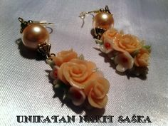 "Cold porcelain by Saska Earrings ""ORANGE ROSES  AND PEARLS"" - š. m72"