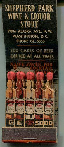 Shepherd Park Wine Liquor Store Feature Matchbook Washington D C Bottles | eBay