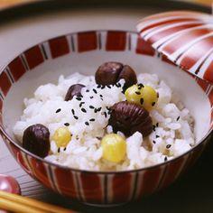 栗ご飯。Chestnuts rice.