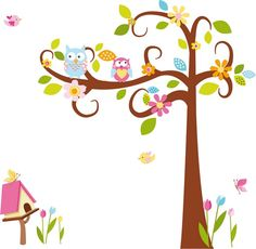 tree with owls for girlroom