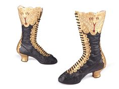 Black leather front lacing boots , decorated with gold leather.