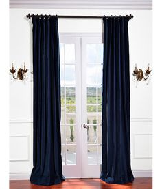 Indigo Blue Vintage Cotton Velvet Curtain & Drapes 50x108 pole pocket with hook belt & black tabs Buy 1 get 1 Free
