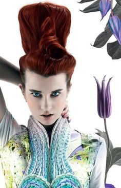 Weird hairstyle, but the colors, textures and makeup are fabulous.