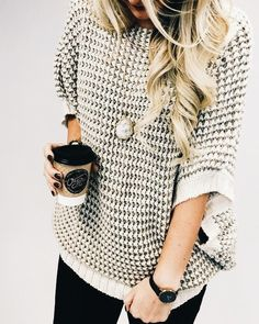 Love this boho-chic sweater look. Dress up or dress down! Jeans or black pants... Perfect.