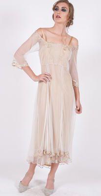 Nude and beige. 40147 Ivory/Gold Tulle Empress Nataya Dress $192