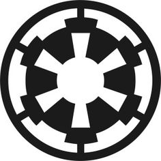 When Sheev Palpatine formed the Galactic Empire, he adopted a different version of the Galactic Republic's crest. The new cog with six spokes was used throughout the organization. It's visible on uniforms, flags, and even propaganda posters. The symbol is associated with the might of the Empire, and its presence on a world signifies Imperial control. In other words, the Empire knew how to brand itself.