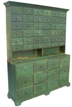 19th century two-piece apothecary stepback cupboard in green paint ****  If this was stripped & done w/ a dark stain it would be GORGEOUS!