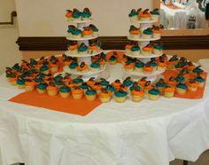 Orange and teal cupcakes