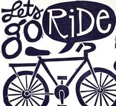Lets Go Ride Bikes Block Print by 1canoe2 on Etsy
