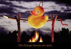 """""""The Orange Games are Open"""". Introduction campaign (boomerang cards) for oGames (2001)."""