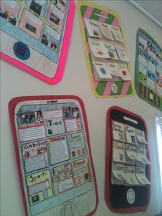 """Ipads: all about me posters. Great for an iPad class, & as a beginning of the year art project. Students write descriptions on the inside of the """"apps"""""""