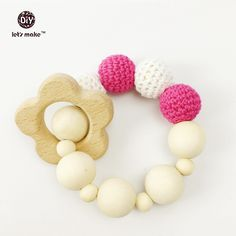 Let's Make Baby Teether Safe Wood Infant Toy Teething Toys Baby Chew Rattle Babyshower Baby Gift wooden ring/Beads Crochet Beads