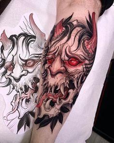 Samurai Mask Tattoo, Oni Tattoo, Dark Art Tattoo, Devil Tattoo, Color Tattoo, Dog Tattoos, Body Art Tattoos, Hand Tattoos, Koi Tattoo Design